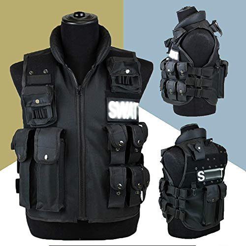 KEXQKN Men's Outdoor 11 Pockets Fishing Vest Men Hunting Vest Outdoor Waistcoat Military Training CS Waistcoat swat Protective Modular Security Vest For Fishing Hunting Travel (Size : L)