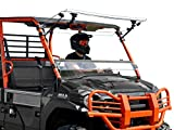 SuperATV Heavy Duty Scratch Resistant 3-in-1 Flip Windshield for Kawasaki Mule Pro FXT / FX / DXT / DX (2015+) - Set to Vented, Closed, or Open - Easy to Install - 250 Times Stronger Than Glass