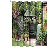 Aishare Store Bathroom Shower Rods Curtains, English backgarden Patio Area in Summer withgazebo Hanging Baskets and Sunflowers, Fabric Bathroom Decor Sets with Hooks, 72' x 84'