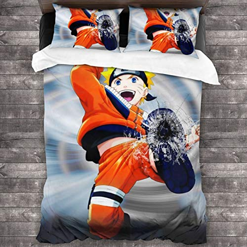 ESCFLAG Anime Naruto Three-piece Luxurious And Comfortable Bedding Soft Microfiber One Quilt Cover 86 X 70 In + Two Pillowcases 20 X 30 In
