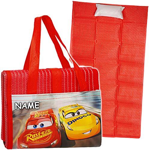 Strandmatte / Strandunterlage mit Kissen - Disney Cars / Lightning McQueen - Auto - inkl. Name - 75 cm * 150 cm - Faltbare Picknick Decke / als Unterlage ISOM..