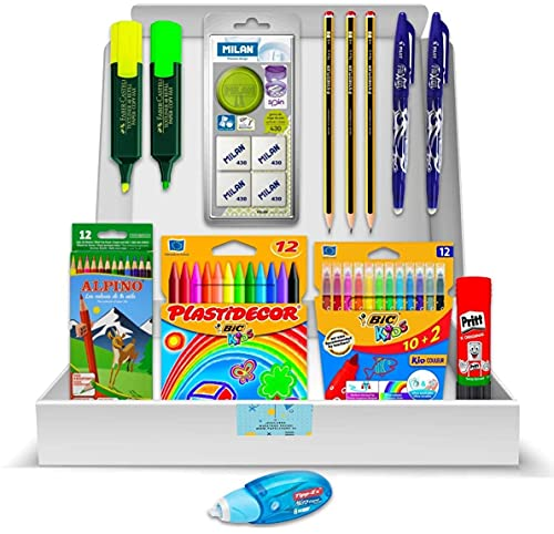 Pack Material Escolar - PS-BASICS SCHOOL (SECUNDARIA) - Kit de material Escolar: Ceras, Rotuladores, Lápices Colores, Gomas borrar, Pegamento, Subrayadores. Productos Papeleria al Mejor Precio