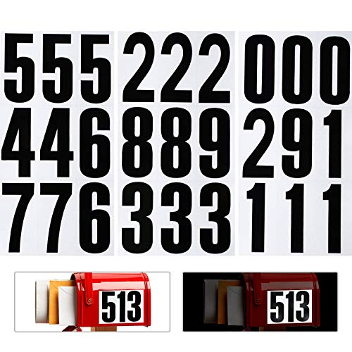 54 Pieces Reflective Mailbox Number Sticker Waterproof 0-9 Number Decal Stickers Self-Adhesive Vinyl Numbers Sticker for Mailbox, Sign, Window, Door, Car, Truck, Home, Business Address Number (3 Inch)