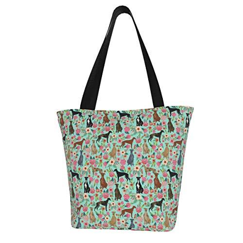 Bolsa de lona personalizada, diseño de galgos florales, color menta, vintage, de Les Fleurs, linda bolsa de hombro, lavable, bolsa de compras para mujer