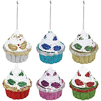 Set of six 4 inch Christmas Cupcake Ornaments with glitter