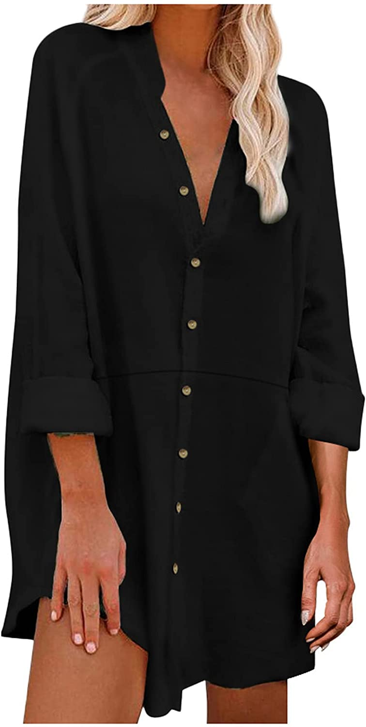 Beppter Women's Stylish Solid Shirts Casual Roll Up Cuffed Sleeve V Neck Button Down Blouses Casual Work Plain Tops(Black,XX-Large)