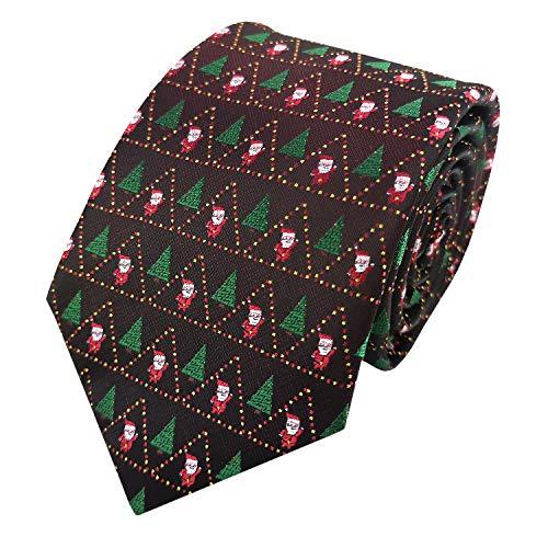 GUUNIEE Herren Krawatte mit Weihnachtsmotiv, gewebt, verschiedene Farben - Schwarz - Mittel