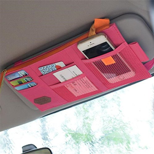 Rumfo Multi-Function Car Space Sun Visor Organizer Card Phone Storage Pouch Bag Holder or Card/Cell Phone/Pen/Sunglass Holder Hot Pink…