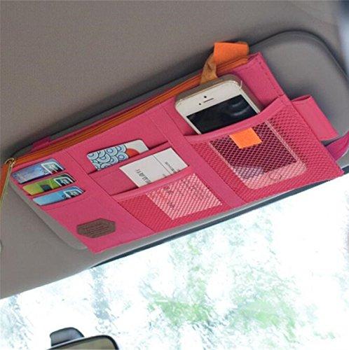 Rumfo multi-funzione auto spazio parasole organizer di telefono e del sacchetto della borsa o vibrazione/cellulare/PDA/Sunglass Holder rosa
