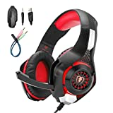 Mengshen Gaming Headset Compatible with PC/Laptop/Smartphones/ PS4 - with Mic, Volume Control, Cool LED Lights and Soft Earpads -GM1 Red