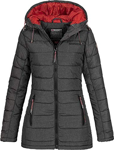 Geographical Norway Damen Steppjacke Parka Astana Kapuze Anthracite L
