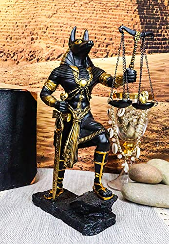 """Ebros Ancient Egyptian God Anubis with Scales of Justice Statue Gods of The Dead and Afterlife Weighing The Heart Against Ostrich Feather Figurine 10"""" Tall (Black and Gold)"""