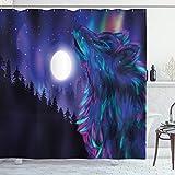 ABAKUHAUS Mond Duschvorhang, Aurora Borealis und Wolf, mit 12 Ringe Set Wasserdicht Stielvoll Modern Farbfest und Schimmel Resistent, 175x200 cm, Magenta Indigo Aqua