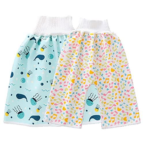 Licogel キッズおむつスカートコットンハイウエストプリント漫画洗える魚キッズトレーニングスカート幼児おむつスカート幼児用