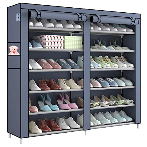 Shoe Rack -Samdiya Free Standing 6-Tier Black Foldable Double Row Metal Shoe Tower 36 Pair Nonwoven Fabric Cover Shoe Storage Organizer Unit Entryway Shelf Cabinet Durable Metal Shelves (GREY)