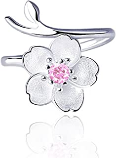 Smilers Jewelry S925 Sterling Silver Branch Cherry Blossom Pendant Necklace,Stud Earrings,Ring,Simple Jewelry Gift