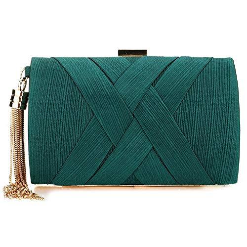 Bolso de embrague para mujer, para fiesta, boda, diseño de flores, para mujer, color Verde, talla Talla única