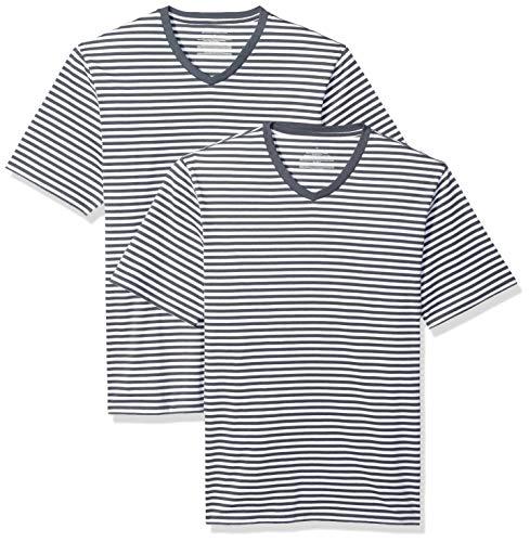 Amazon Essentials - Camiseta holgada a rayas de manga corta con cuello en V para hombre, Azul marino/Blanco, US M (EU M), Pack de 2