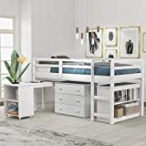 Kids Loft Bed with Rolling Portable Desk/Storage Shelf/Guard Rail/Cabinet of Drawers for Bedroom and Dormitory Twin (White)