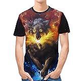 GreatestPAK T-Shirt Sommer Kurzarm T-Shirts Wolf Muster Print T-Shirt Schlank Kurzarm Top Tee Bluse