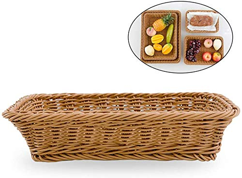 Rosetor, 1 vassoio rettangolare in rattan, per servire cibo, ristorante, cucina, tavolino da caffè, decorazione cesti di frutta, snack, cestino portaoggetti (30 x 20 x 6 cm)