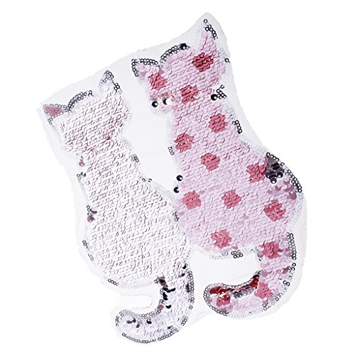 Hellery Cute Cat Reversible Farbwechsel Pailletten Annähen Patches Für T Shirt - Schwarz, 19 x 22,5 cm - Rosa, 19 x 22,5 cm