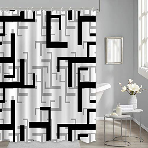 Black Geometric Shower Curtain Black and White Grey Checkered Waterproof Fabric Shower Curtains for Bathroom, 72x72 inches