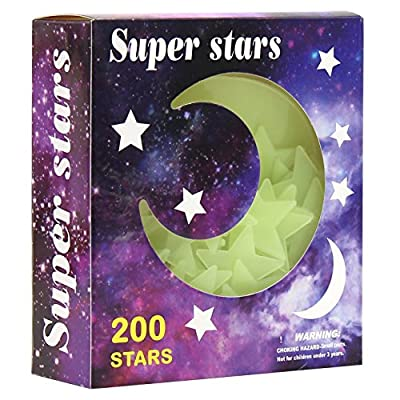 Glow in The Dark Stars Sticker for Ceiling Luminou Stickers Decal Ceiling Stickers Wall Mural Art Decor Star Wars Wall Decals Stickers for Kids Baby Bedding Room Birthday Gift (Moon)