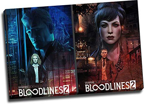 Trelemek Vampire The Masquerade Bloodlines 2 Lienzo decorativo para pared enmarcado de 76,2 x 50,8 cm, póster de videojuegos, arte de oficina, listo para colgar