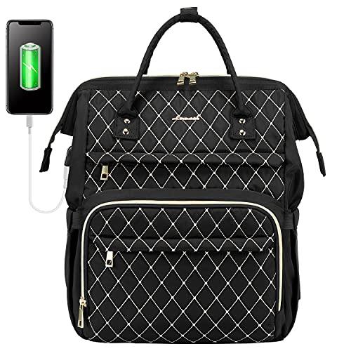 LOVEVOOK Laptop Rucksack Damen elegant mit Laptopfach 15,6 Zoll, Laptop tasche wasserdicht, Schulrucksack mädchen teenager rucksack damen klein mit USB Ladeanschluss, schwarz