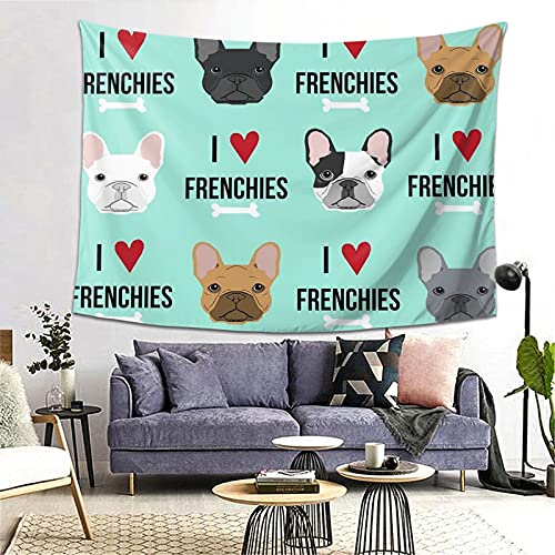 YX-Handsome Tapestry Frenchie Dog Wall Hanging Wall Tapestries Wall Blanket Art Nature Home Decorations for Living Room Bedroom Dorm Decor (60' X 80')