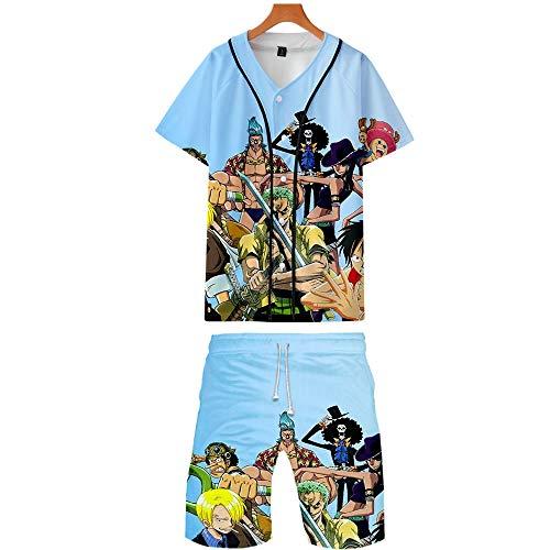 Spricen Camiseta Bañador Hombre Natación Pantal Ones Cortos de Secado rápido Pantal Ones Cortos de Playa con cordón Ajustable Anime One Piece B 2XL