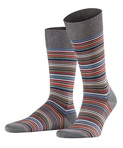 FALKE Herren Socken Microblock - 91% Baumwolle , 1 Paar, Grau (Steel Melange 3165), Größe: 43-44
