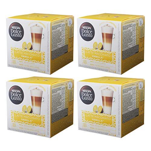Nescafé Dolce Gusto Latte Macchiato Vanilla, Paquete de 4, 4 x 16 Cápsulas (32 Tazas)