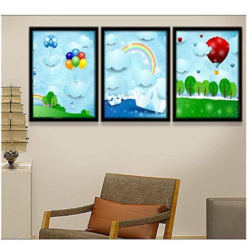 Canvas afdrukken moderne canvas muur kunst voor wanddecoratie cartoons papier vouwen vliegtuigen ballonnen regenbogen kinderen kamer decoraties muur beelden unframed 3 stuk Set 50 * 70Cm