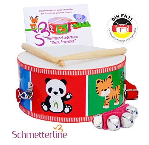 SCHMETTERLINE® Trommel für Kinder aus Holz - Musikinstrument für Kinder ab 3 Jahre - Kindertrommel inkl. Glockenarmband und Trommelbuch