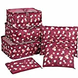 New Packing Cubes for Travel Cube Organizer Camping Accessories Travel Bag Suitcase Sets Carry On Bag Luggage Set Travel Accessories 6Pcs Travel Storage Bag Set for Clothes Luggage (Red)