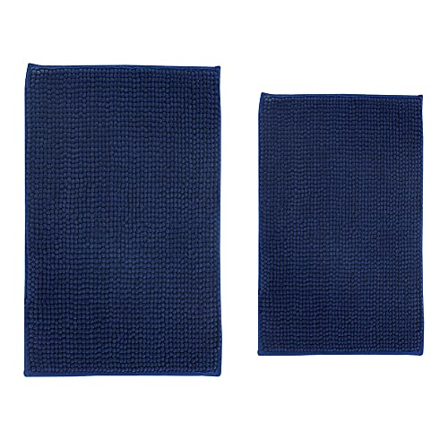 Blue Bath Rugs for Bathroom - Microfiber Chenille Mashine Washable Non Slip Bath Mats 32 x 20 Inch Plus 24 x 16 Inch, Absorbent Thick Shaggy Rugs, Blue, 2 Pieces (32 x 20 Inch Plus 24 x 16 Inch)