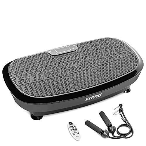 Fitfiu Fitness PV-200 - Plataforma vibratoria fitness con movimiento oscilante 3D, potencia de 1000W, con cuerdas elásticas y base antideslizante, Plataforma de entrenamiento completo, color Negro