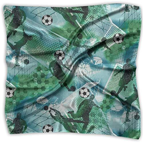 Deportes Fútbol Niño Fútbol Azul Verde Dama Impreso Cuadrado Bufanda Tocado Cuello Bufandas de satén...