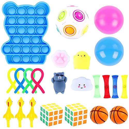 Herefun Sensorial Fidget Juguete, 23Pcs Juguetes Sensoriales Niños Kit, Sensory Toy Juguetes Antiestrés, Fidget Sensory Toys para Niños, Alivia el Estrés y la Ansiedad Fidget Toy (Estilo-B)