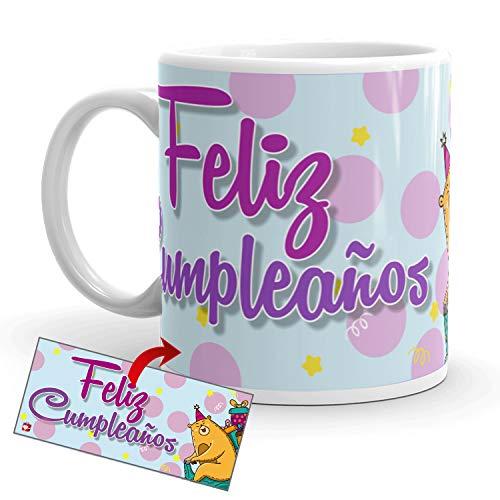 Kembilove Tazas de Desayuno de Cumpleaños – Taza con Mensaje de Feliz Cumpleaños – Tazas de Café y Té Ideal para Regalar a Amigos – Taza de cerámica de 350 ml – Regalos Originales