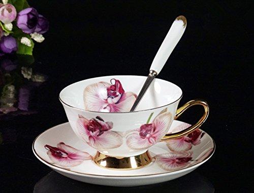 BeiBeiLove Bone China-Tazza da tè e piattino per caffè da tazza, cucchiaio, 6 oz, Gracie 'Chintz' in porcellana fine, motivo: Rose, colori assortiti