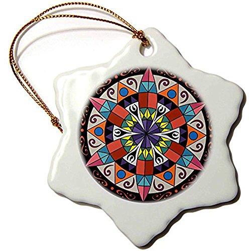 Bowen Rhodes Hex Sign 1 Pennsylvania Dutch Luck Protection Symbol-Snowflake Ornament, Porcelain, 3-Inch