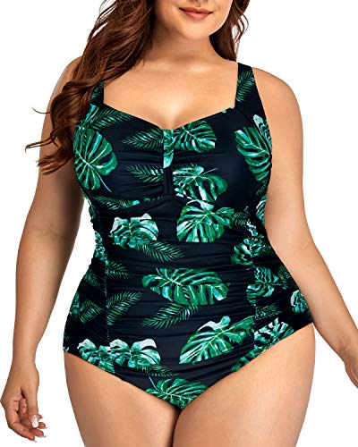 Daci Women Vintage Plus Size Swimsuits Tummy Control Ruched One Piece Bathing Suits Retro Swimwear Green Leaves 16W
