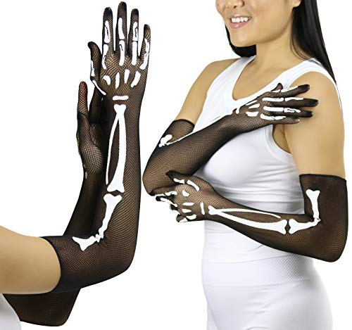 ToBeInStyle Women's Halloween Skeleton Bones Fishnet Over Elbow Gloves - BLACK/WHITE - OSR