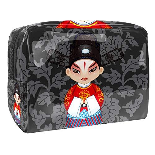Bolsa de Maquillaje Ópera China de pekín Bolsa Cosmetica Portátil Viaje de Maquillaje Organizador Bolsa de Almacenamiento de Maquillaje 18.5x7.5x13cm
