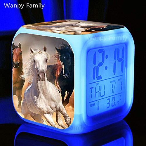 Zhuhuimin Running Prairie Horse Despertador 7 Colores Reloj electrónico Luminoso Regalo de...