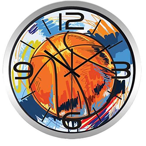 rrff Relojes De Pared Reloj De Pared De Pintura Colorida De Baloncesto De Fútbol para Sala De Hombres, Herramientas De Reloj De Calidad Súper Silenciosa para Observar El Tiempo -A