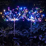2 Pack Outdoor Solar Starburst Lights Garden Lights 120LED Solar Firework Lights 40Copper Wires String Landscape Light-DIY Flowers Fireworks Trees for Walkway Patio Lawn Backyard,Christmas Party Decor